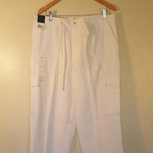 Claiborne White Linen Pant with Cargo Pockets